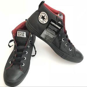 Black/Terra Red Mid top Converse